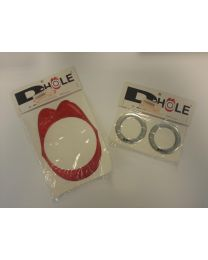 "Soundhole D-hole basdrum 2"" silver pr."