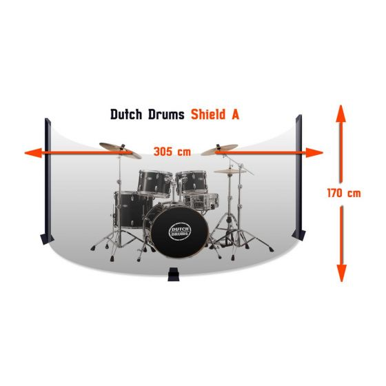 Drumscherm Crystal Sound 305x170 cm incl. Softhoes
